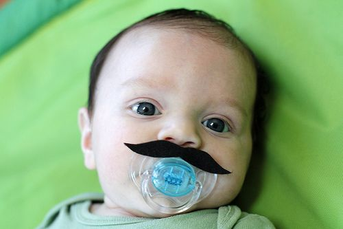 Pacifier mustache! I want to do this for the daycare babies on Halloween!! Haha