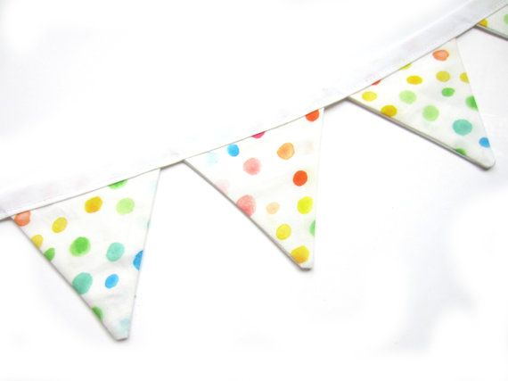 Rainbow Colours Mini Bunting, Watercolour Dots, Colourful Nursery Decor, Glamping