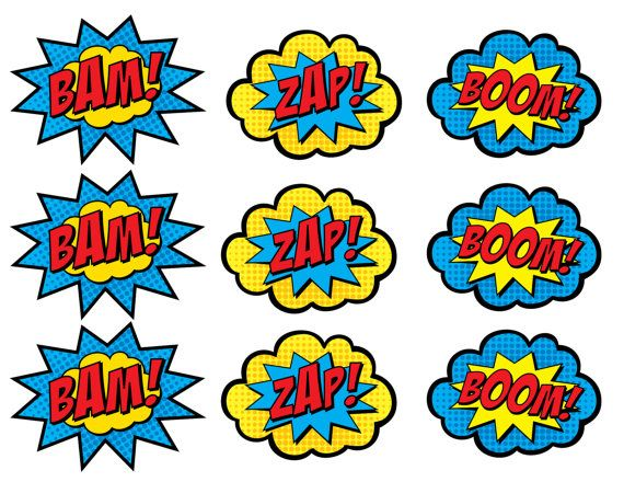 Superhero Cupcake Toppers Boom Bam Zap Pow And Pop