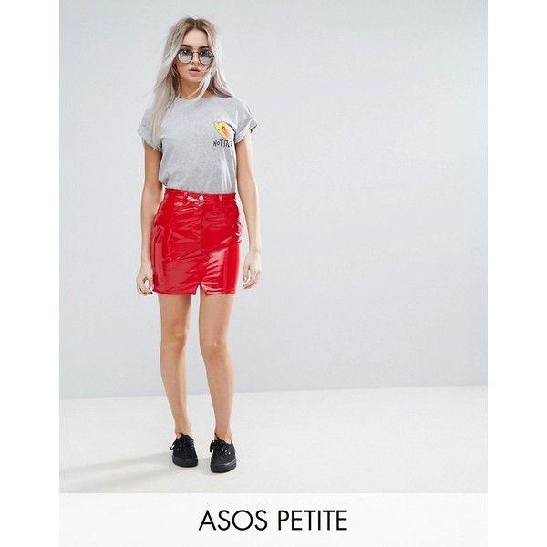 ASOS PETITE Denim Red Vinyl Mini Pelmet Skirt (140 BRL) ❤ liked on Polyvore featuring skirts, mini skirts, petite, red, short skirts, high waisted short skirts, high-waisted skirts, mini skirt and petite skirts