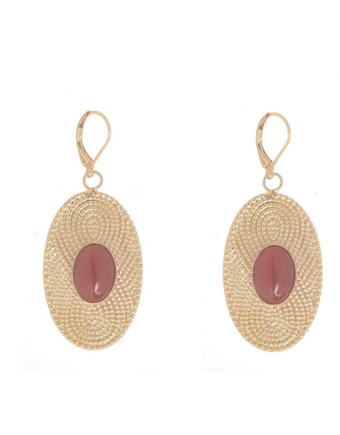 Boucle d'oreilles ethnique ovale et cornaline Jeanne