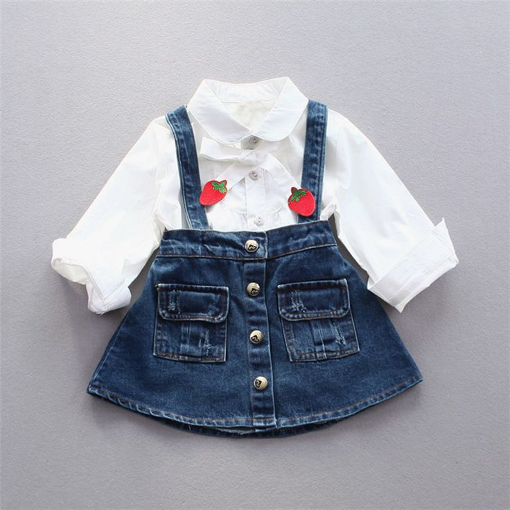 Fashion Autumn Baby Girls Infants Long Sleeve Shirts Blouse Tops+Denim Jeans Overalls Tutu Dress 2pcs Princess Clothes Set S5613 #Affiliate