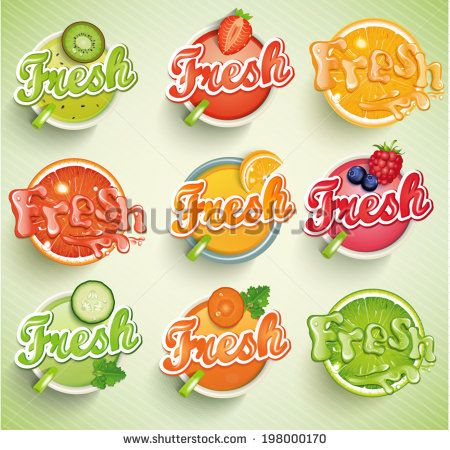 Set fresh grapefruit, carrot, cucumber, raspberries, blueberries, strawberries, kiwi, orange, lime. Vector.