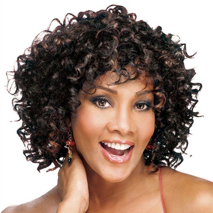 Yüksek Kalite Lady Sentetik Saç Kadın Peruk Isıya Dayanıklı Kıvırcık Kahverengi Karışık Kapaksız Kısa Orta Peruk Ücretsiz Kargo