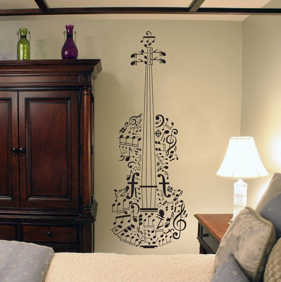 Music Notes Violin Wall Art Decal Decor Sticker Vinyl Poster Mural Classical Music    Size: 47.2in H x 16.5in W (120cm H x 42cm W)    Ideal for