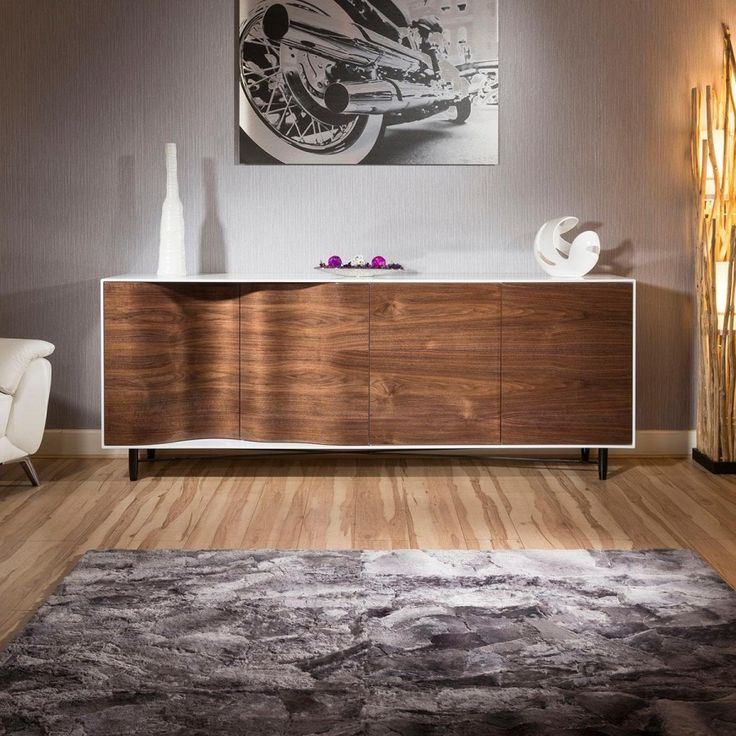 Luxury large modern sideboard cabinet high gloss walnut - Walnut and black gloss living room furniture ...