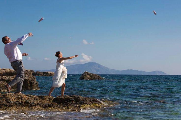 Celebrating their love on Alyko beach naxos greece #destinationwedding #greecewedding styled by islandevents.gr