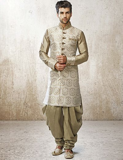 G3 Exclusive jamawar green men kurta suit