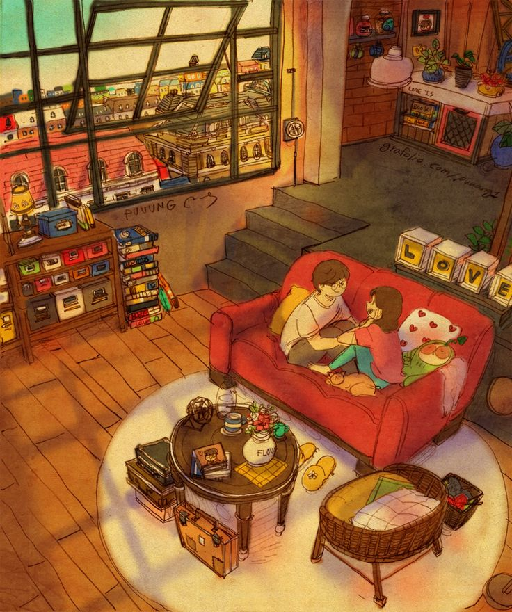"♥ HOW WAS YOUR DAY? ~ We sat on the sofa and talked. ""I had a very exhausting day."" / ""Oh, really?"" ♥ by Puuung at www.grafolio.com/ /works/214203 ♥"