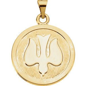 14kt Yellow Gold 23mm Holy Spirit (Dove) Medal   5.89 Grams   Jewelry Series: R16462