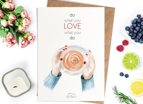 Printed Watercolor cards Mug in hand do what you от WhiteWildRose