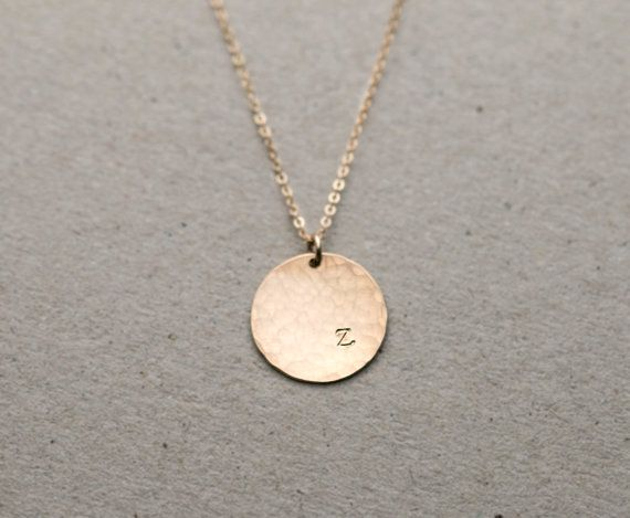 Personalized Hammered Initial Pendant  / LARGE Hammered Disc Necklace / Circle Tag on Gold Fill, Sterling Silver, Rose Gold Chain, LN216.hm (Leilani and Ezra initials)
