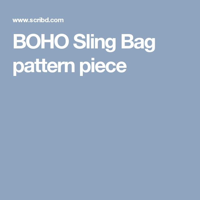 BOHO Sling Bag pattern piece