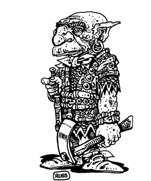 A svirfneblin, or deep gnome, sizes up the party and decides whether to give them directions to the next level or to summon an earth elemental to chase them away. (Russ Nicholson from the AD&D Fiend Folio, TSR, 1981.)