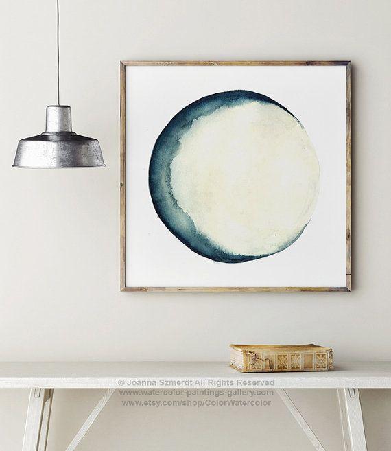 Luna fases acuarela pintura decoración de la por ColorWatercolor
