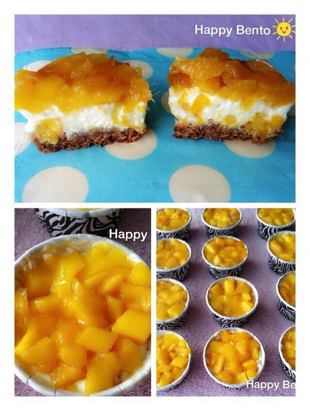 Mango cheese tarts with oatmeal crust