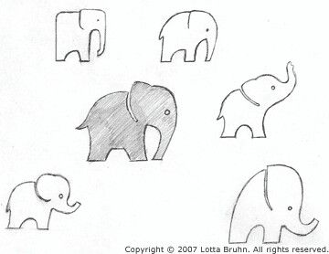Small elephant tattoos  I love the 2nd one - 2nd row and 1st one - bottom row. white ink?