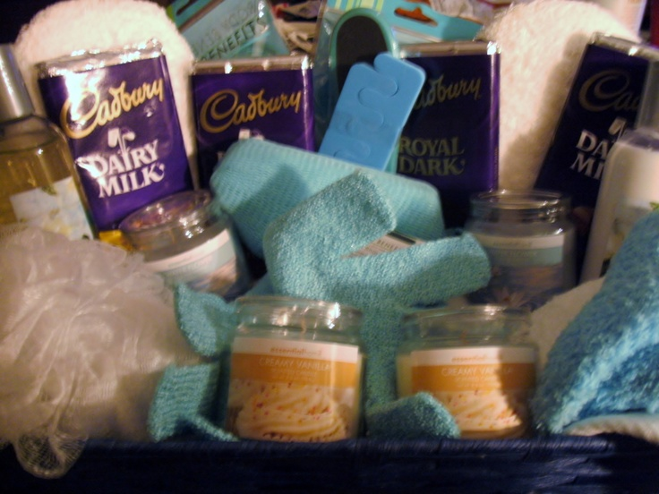 spa gift basket - something like this with Arbonne seasource spa, detox tea, candle & chocolate $100