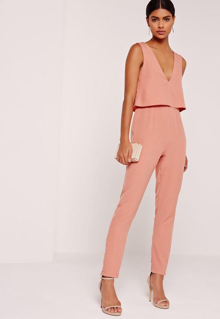 Missguided - Mono largo de crepé sin mangas con doble capa rosa