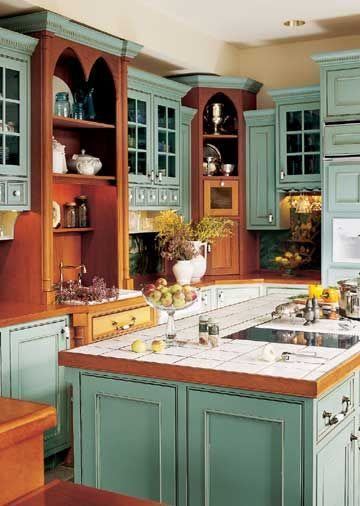 I like the mixture of color and natural wood.: Kitchens, Cabinet Colors, Dream House, Country Kitchen, Kitchen Design, Kitchen Ideas