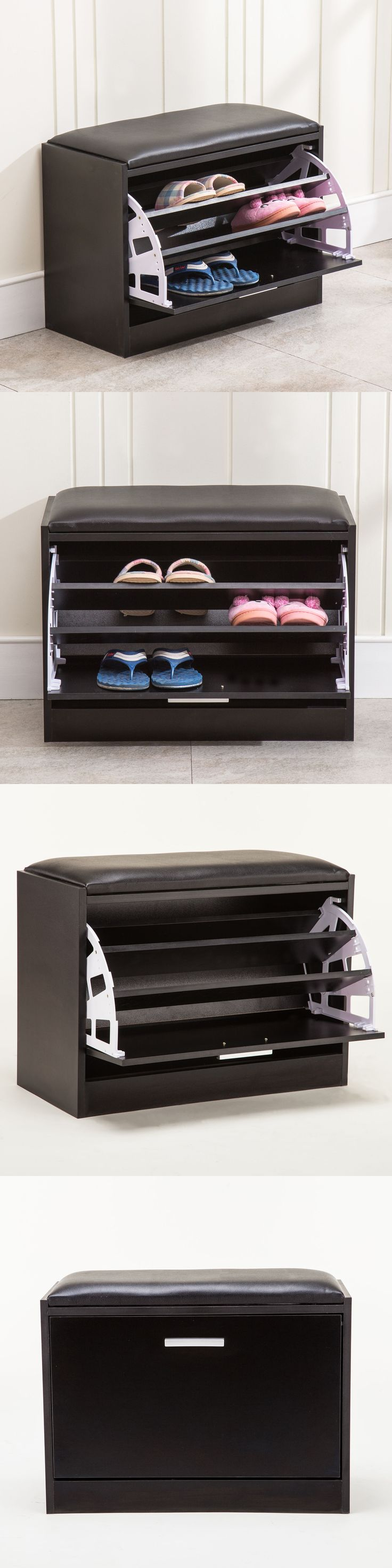 Shoe Organizers 43506: 3 Racks Wood Shoe Ottoman Bench Cabinet Closet Shelf Organizer Storage Stand -> BUY IT NOW ONLY: $39.9 on eBay!