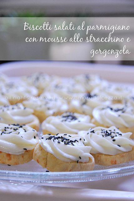 biscotti salati al parmigiano con mousse allo stracchino e gorgonzola by Amaradolcezza, via Flickr