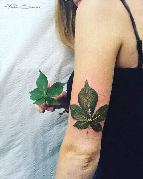 Inked tattoo app. Find more tattoo ideas and designs like this one. All tags: small, white, leaf, tricep, tiny, pissaro, little, nature, realistic, medium size, green, chestnut leaf, brown