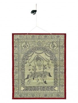Nritya Ganapati Pattachitra Palm Leaf Painting 12.5in x 10in