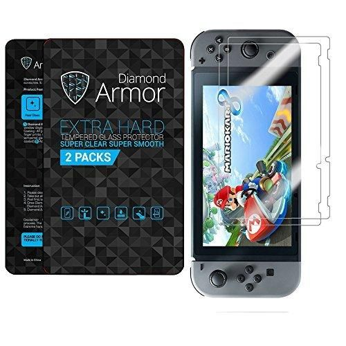 Nintendo Switch Tempered Glass Screen Protector 2017 DIAMOND ARMOR (2-PACK) - Anti-Bubble Anti-Scratch with HIGH QUALITY ACCESSORY PACK
