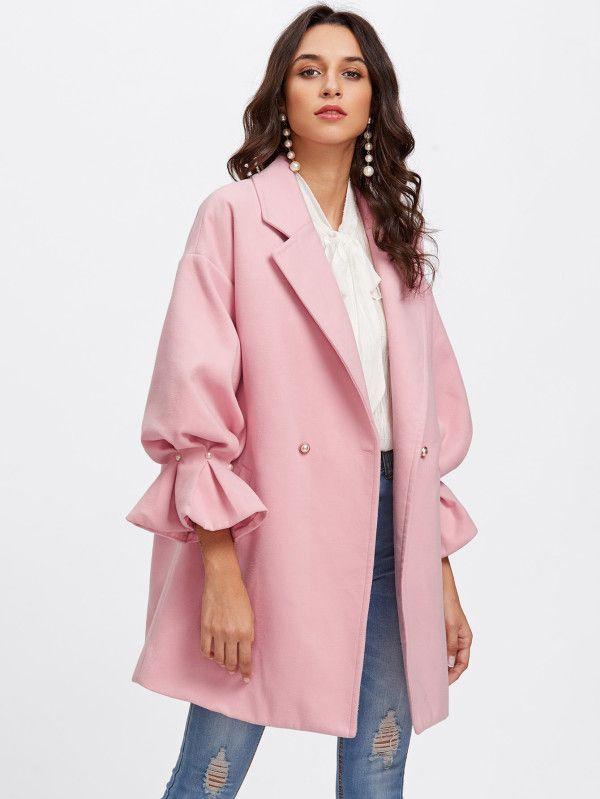 Shop Drop Shoulder Pearl Detail Ruffle Cuff Coat online. SheIn offers Drop Shoulder Pearl Detail Ruffle Cuff Coat & more to fit your fashionable needs.