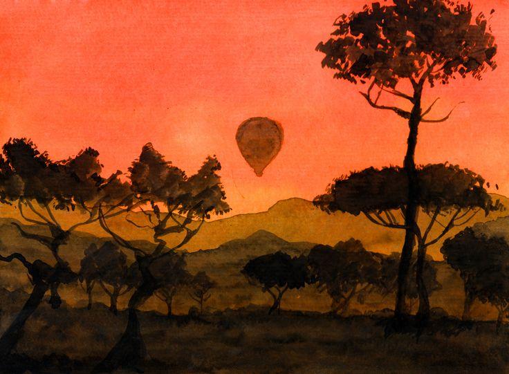 """""""Alvorada na Savana"""" - Aquarela  """"Dawn in Savannah"""" - Watercolor"""