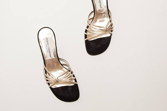 Dolce & Gabbana // Vintage Shoes // Gold Kitten Heel Mules //
