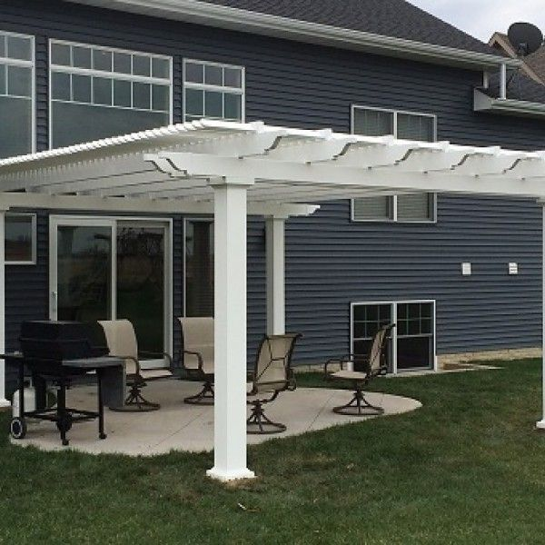 Sunset Pergola Kit Attached 14 X 14 Pergola With 75 Shade And 7 Square Posts White Vinyl W Aluminum Frame Sunset Pergola Kits For Sale Outdoor Pergola Pergola Patio Pergola Plans