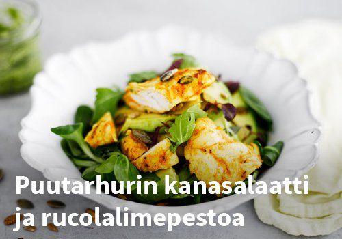 Puutarhurin kanasalaatti ja rucolalimepestoa, Resepti: Kariniemen  #kauppahalli24 #resepti #salaatti #kanasalaatti #pesto #kana