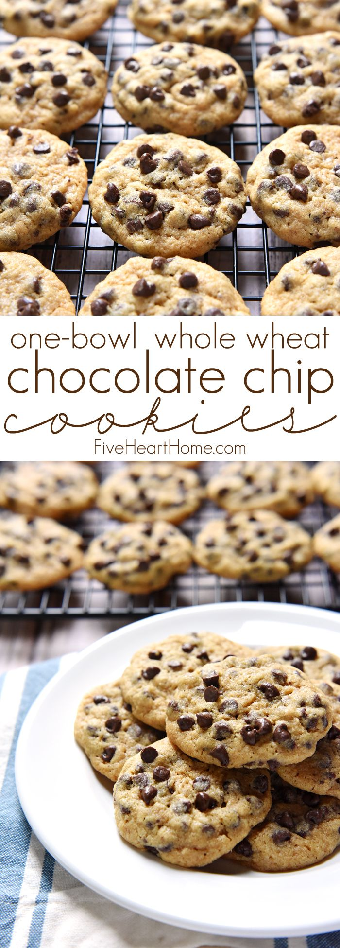 One-Bowl Whole Wheat Chocolate Chip Cookies ~ chewy, delicious, and made with 100% whole wheat flour in just one bowl, there's no need to feel guilty about enjoying an extra cookie...or three! | FiveHeartHome.com