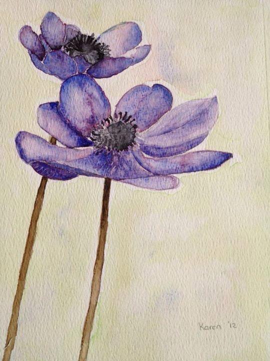 Aquarel paarse bloem