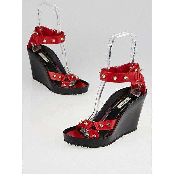 Pre-owned Balenciaga Red Leather Studded Wedges (€240) ❤ liked on Polyvore featuring shoes, red wedge heel shoes, red wedge shoes, wedge shoes, rubber sole wedge shoes and studded wedge shoes