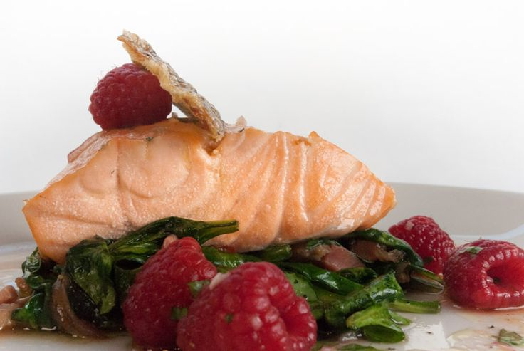 Oil-Poached Atlantic Salmon with Pancetta Spinach Salad and Raspberry Vinaigrette