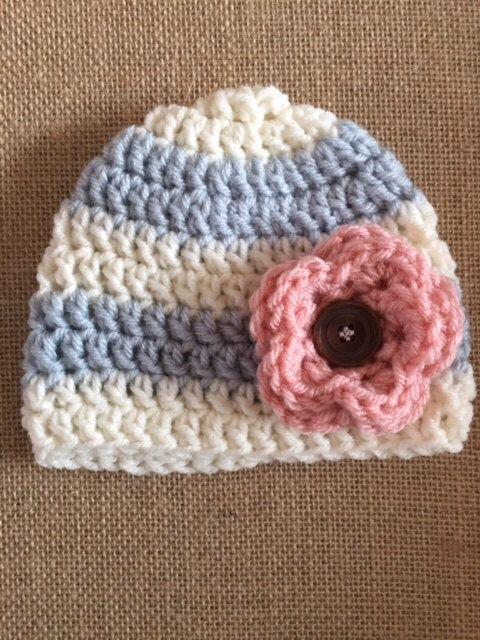Newborn Baby Girl Flower Beanie Hat