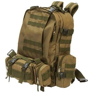 """Wholesale Heavy-Duty Water-Resistant Backpack.   Features stitched webbing zipper pulls, color matched zippers, 2 removable saddlebags, 1 removable tail bag, multiple zippered closures and adjustable straps. Measures 17"""" x 22"""" x 12""""."""