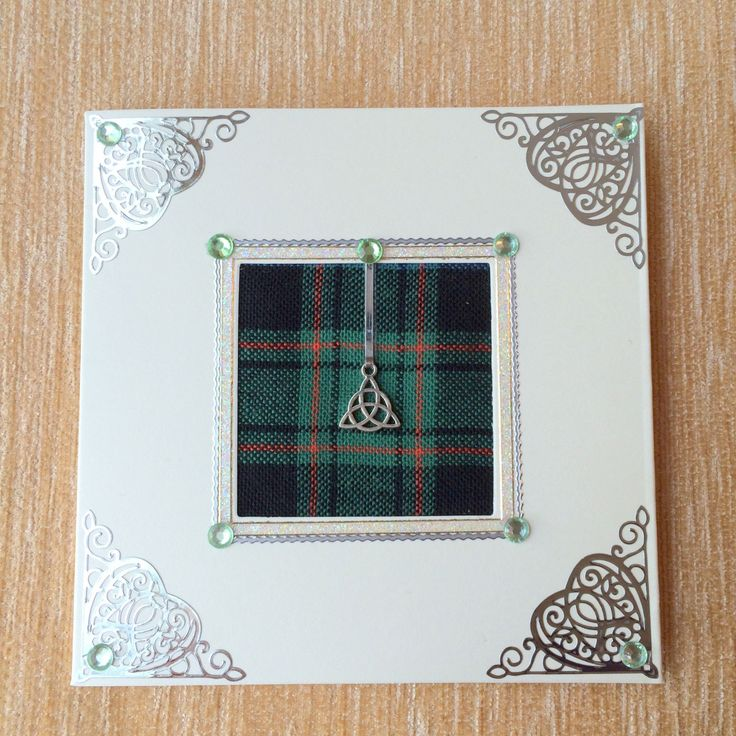 Green Tartan any occasion greeting card with embellishments celtic knot by TanyaWatsonDesigns on Etsy