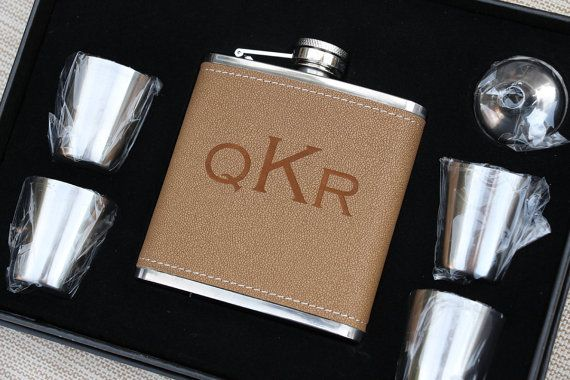 6 Personalized Laser Engraved 6 piece leather flask set groomsmen gift, wedding favor, fathers day, Birthday Gift, Graduation Gift