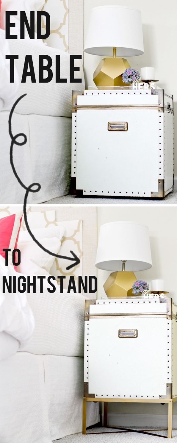 Here's a beautiful bedside table idea for you! Create a simple metal stand to lift a trunk off the ground and make it the perfect height for a nightstand. {Inspired by the Pottery Barn Ludlow Trunk}