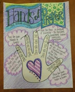 Hands of Prayer  Guide the children about who and what to pray for  by giving them a copy of this coloring page by Look to Him and be Radiant.  This is teaching without preaching.  Things they can pray about, people to pray for. Kids love to learn about God, and this is a perfect way to encourage them to pray.