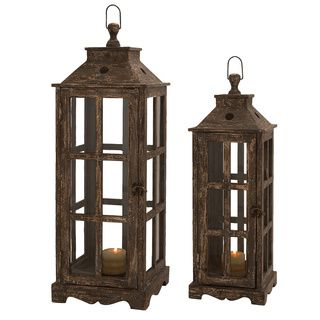 Santa Barbara Weathered Wood 2-piece Square Lantern Set | Overstock.com Shopping - Great Deals on Casa Cortes Candles & Holders