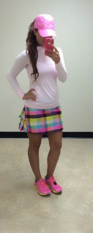 Lululemon water bound hoodie barely pink, lululemon sea plaid pacesetter skirt and Newton Gravity's III ... Oh and my pink Fila hat! ;0) 7/22/14