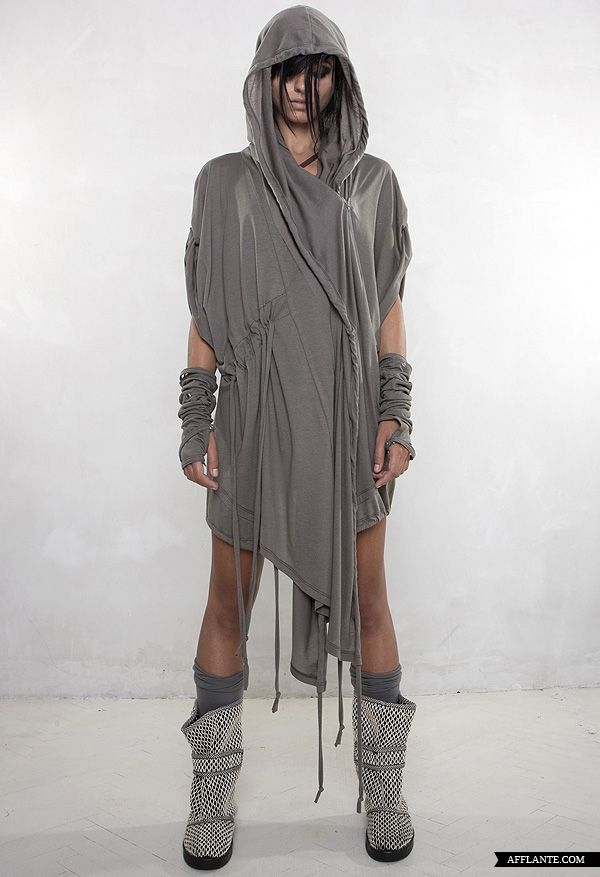 Future Fashion, Futuristic Look, Demobaza, hooded garment grey gray