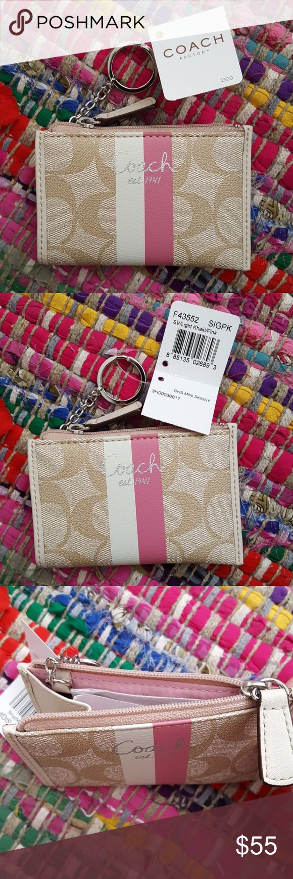 """Coach Mini Skinny Wallet Brand new with tag, original box, and tissue paper. Coach factory. Item F43552. Pink lining. Zipper closure. Key ring. 4.5"""" length. Approx. 3"""" height. Coach Bags Wallets"""
