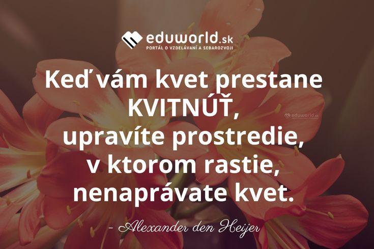 Keď vám kvet prestane KVITNÚŤ, upravíte prostredie, v ktorom rastie, nenaprávate kvet. - Alexander den Heijer