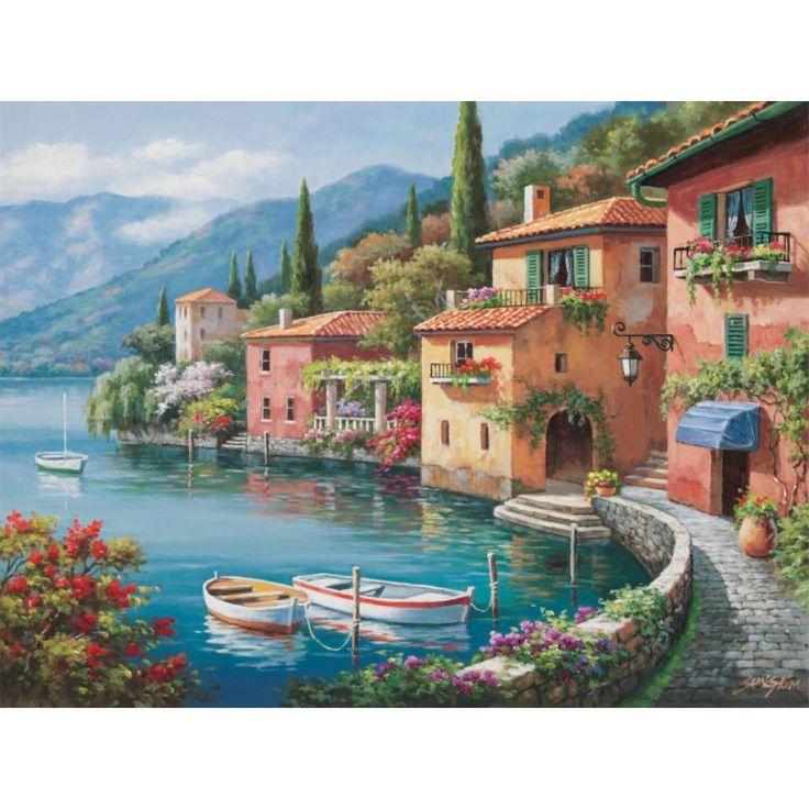 Villagio Dal Lago Mediterranean landscape canvas print wall art home decor